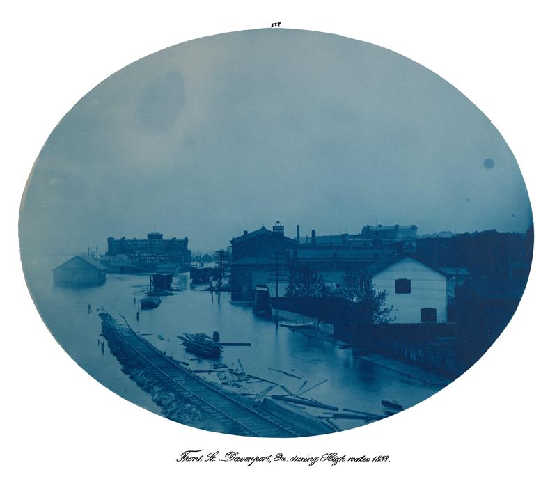 Front St., Davenport, Ia during High water 1888; cyanotype #117 from Mackenzie album